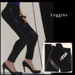 NWT Leggins Black Slim faux Leather detailed